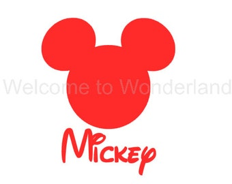 DIY Personalized Mickey Head Famiy Name Iron On Decal Custom Color Baby Boys Girls Men Women Adult