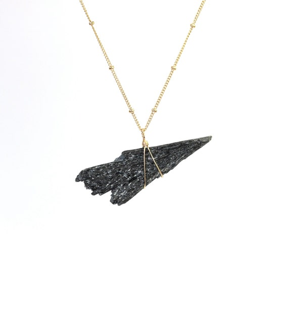 Kyanite necklace - crystal necklace - black kyanite - bar necklace - a raw kyanite fan wire wrapped onto a 14k gold filled satellite chain