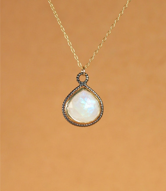 Rainbow moonstone necklace - gold moonstone - june birthstone - crystal necklace - a bezel set teardrop moonstone on a 14k gold filled chain