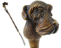 Carved Schnauzer Vintage Shoe Horn COMOYS of LONDON Made In Italy Schnauzer Collectible Carved Dog Head Dog Collectible Boot Horn Shoe Spoon