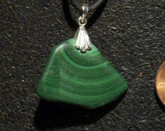 Malachite, freeform pendant, set in Sterling Silver
