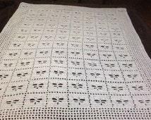 Dragonfly Baby Blanket Filet Crochet Pattern