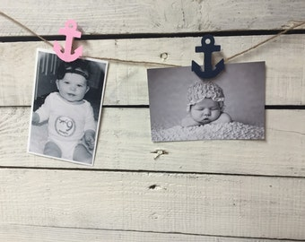 13 Nautical girl clothespins/ 12 month photo banner/ first year banner/nautical girl first year photo garland/ photo banner/ pink and navy a