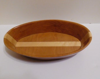 Handcrafted Cherry and Maple Oblong Bowl