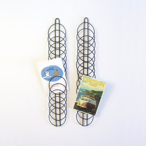 Vintage Wire Card Holder Greeting Card Display Black Wire
