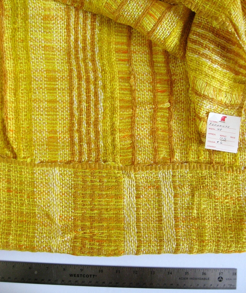 Yards Vintage Mustard Yellow Stripe Fabric Chunky
