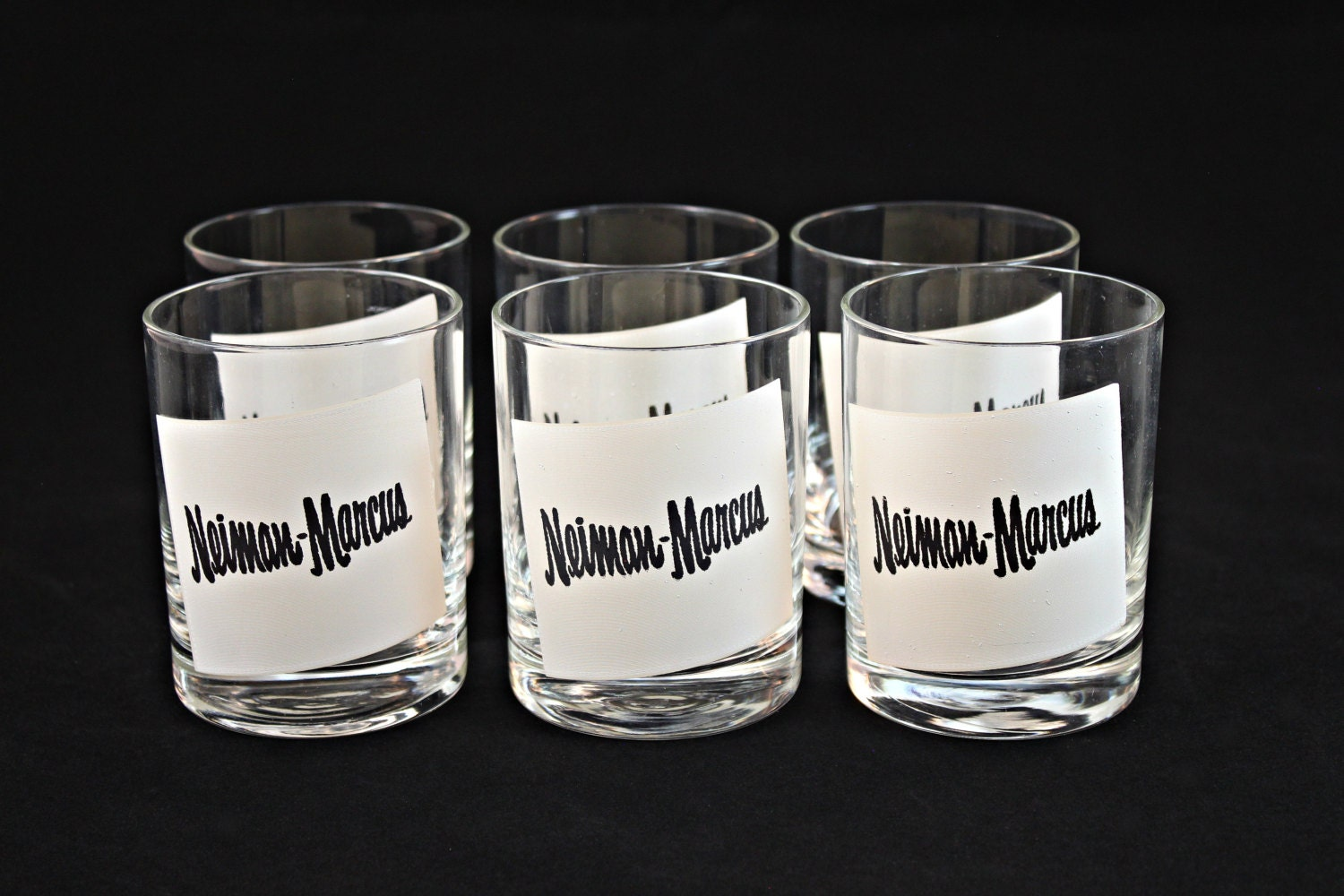 vintage double old fashioned glasses neiman marcus bar. Black Bedroom Furniture Sets. Home Design Ideas