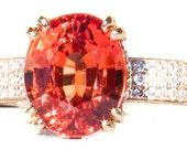 RARE Mandarin Garnet & Diamond Designer 14K Ring