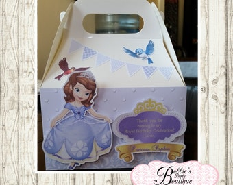 Sofia the First party favor box, Sofia the first gable box, 10 Princes party favor gable box, Sofia favor box