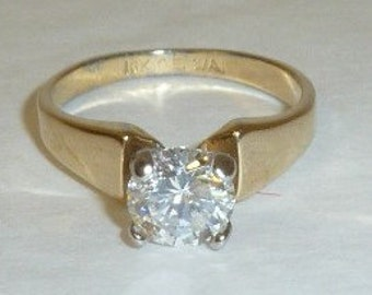 Vintage 18K Gold Electroplate Solitaire Ring Clear Rhinestone Engagement Style Band Size 8