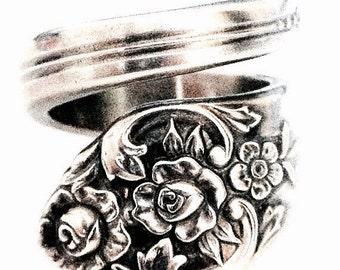 Vintage Spoon Ring circa 1950 - Spoon Jewelry - Silverware Jewelry - Silver Spoon Rings