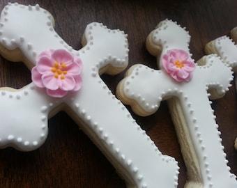 Cross Sugar Cookies, Christening Sugar Cookies, Baptism Sugar Cookies, Communion Sugar Cookies