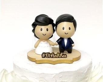 Wedding Cake Topper, Custom Cake Topper, Cute Topper, Couple Topper, Topper Cute, Wedding Topper, Topper with Bouquet, Cute Toppers, Custom