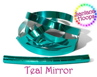 Teal Mirror Taped performance Hula Hoop Polypro or HDPE
