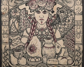 Slavic viking art goddess Mokosh art print fantasy