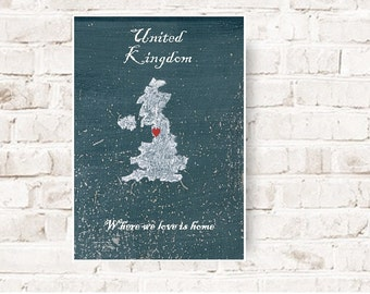 England, United Kingdom, map of England, love, home