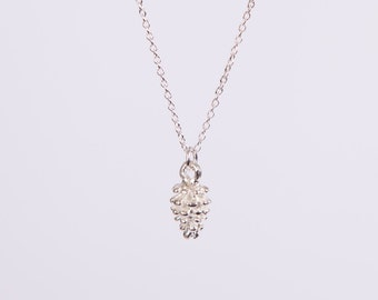 Silver Plated Necklace Pine Cone Silver Plated Filigree Silver Necklace