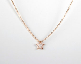 Fine Rose Golden Necklace Rose Gold Star Starlet Goldstar Tiny Star Necklace