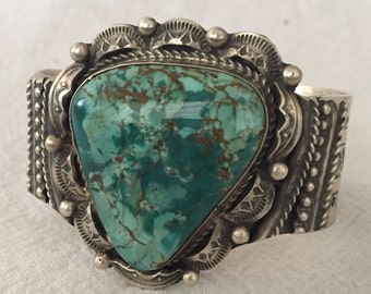 Signed Vintage NAVAJO Hand-Stamped Sterling Silver TURQUOISE Cuff BRACELET