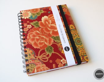 Book of recipes - Japanese - Red flowers fabric