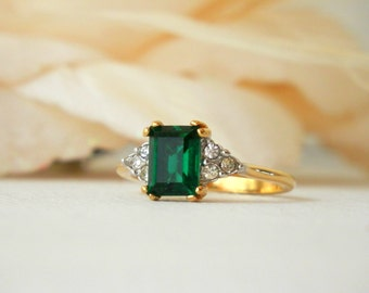 Green Glass Ring, Emerald Cut Ring, May Birthstone Ring