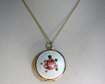 SALE Vintage Guillouche Locket, Hand painted Rose Enameled Locket NOW 100 WAS 120