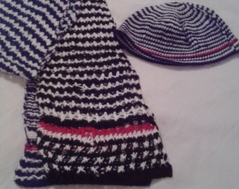 NEW ITEM!  Hand knit matching scarf and hat set.  Made of acrylic yarn. One size fits all.