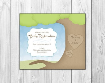 Pregnancy Announcement Card | Engraved Tree (4 Count and 4 Envelopes)