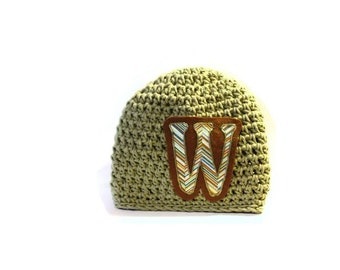 Hat Boys Cotton Crochet Hat Monogrammed Hat for Children, Natural Color Chevron Pattern Initial, Hand Painted and Crochet, Boys Initial Hats