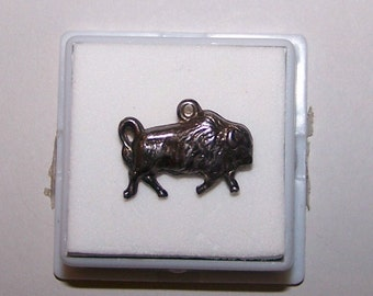Vintage 1940's PUFFY BUFFALO BISON Sterling Charm-- Marked Sterling
