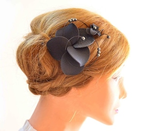 Orchid fascinator in pewter Pewter hair clip Bridesmaids fascinator Pewter hair flower