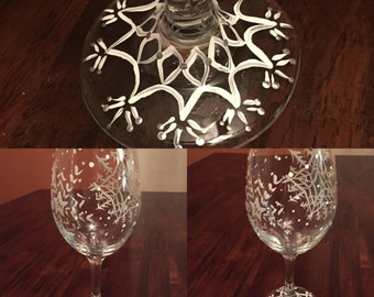 Hand painted snowflake wine glass