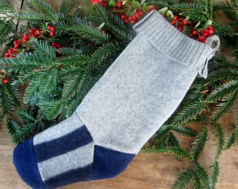 Wool stocking, Ready to ship!  Fair isle country Christmas stocking recycled sweater . Eco friendly holiday stocking