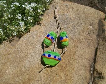 handmade glass lampwork beads, set of 3 green