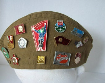 MILITARY Garrison Style Hat with Collectible Russian Pins