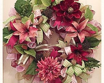 Ready To Ship- SALE Elegant Burgundy Rose Floral Deco Mesh Wreath/Burgundy Rose Lily Wreath/Floral Wreath/Everyday Burgundy Wreath/Summer Wr