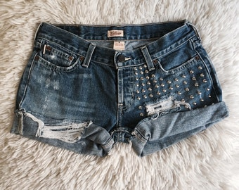 Studded & Destroyed Denim Shorts
