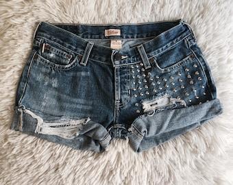 Studded & Destroyed Denim Shorts