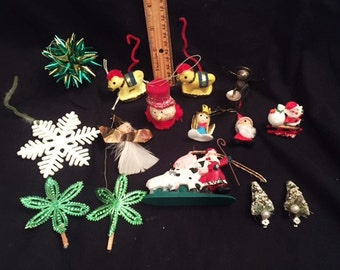 Christmas 15 small vintage decorations and ornaments