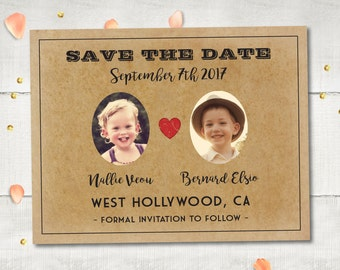 "Wedding Save The Date Magnets - OldDaysLane II | Vintage Retro Photo Save The Date | Cute Save The Date Alternative Personalized 4.25""x5.5"""