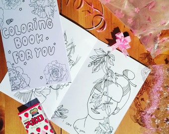 Coloring book for you / Illustrated zine about soft times and care