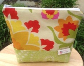 Green, orange and cream ditty bag, Lislyn Designs
