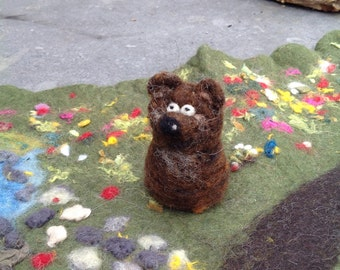Needle felted bear, little brown bear