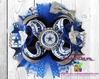 Dallas cowboys inspire large over the top deluxe boutique bow ready to ship
