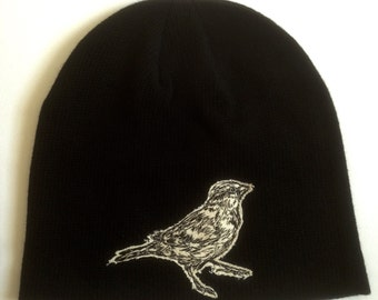 Sparrow Embroidered Organic Cotton Beanie Hat