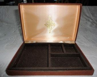 Brown Felted Jewlery Box Vintage Travel Case Holder