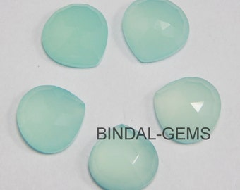 10 Pieces Lot Aqua Chalcedony Heart Shape Rose Cut Loose Gemstone