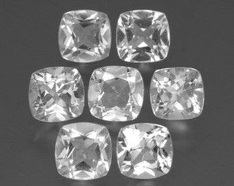 25 Pieces Wholesale Lot Awesome White Topaz Cushion Faceted Cut Gemstone For Jewelry