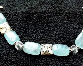 Beaded Horse Bracelet in light blue