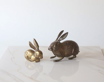 Small Vintage Brass Rabbit or Bunny with Patina